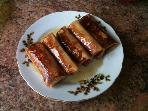 Apple Blintzes Drizzled with Clover Honey