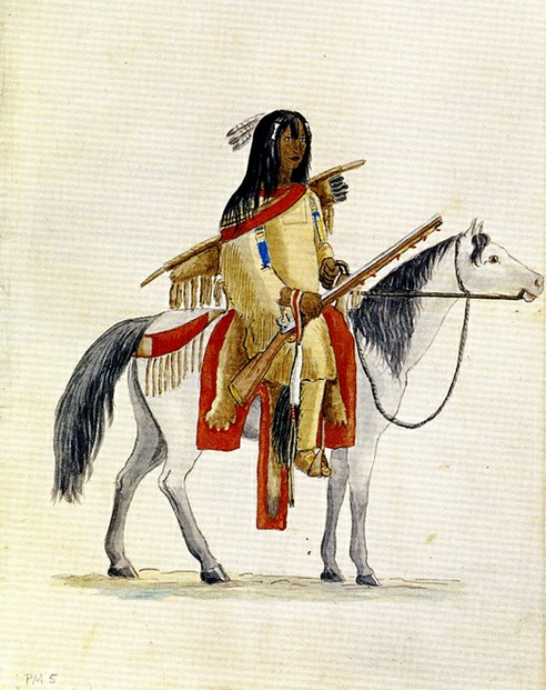 Indian on horseback. Watercolor by Maximilian zu Wied-Neuwied 1833 or 1834.
