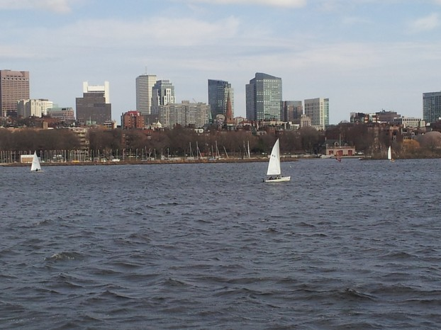 Boston's skyline seen from Cambridge with the Charles river in between