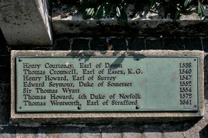 Sign from the Tower Hill Site with Thomas Cromwell's Name