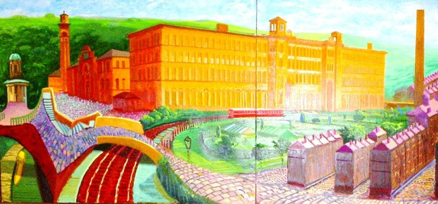 Photo of David Hockney's Painting of Salts Mill