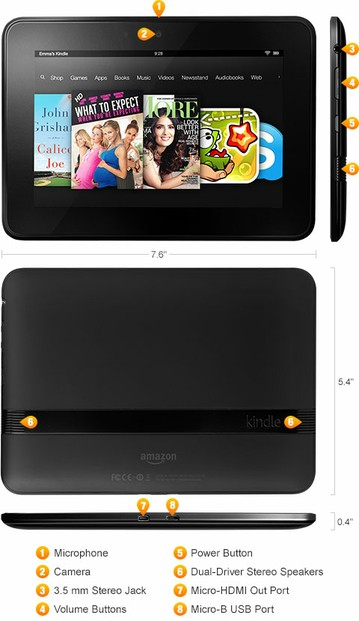 kindle fire hd dimensions and features