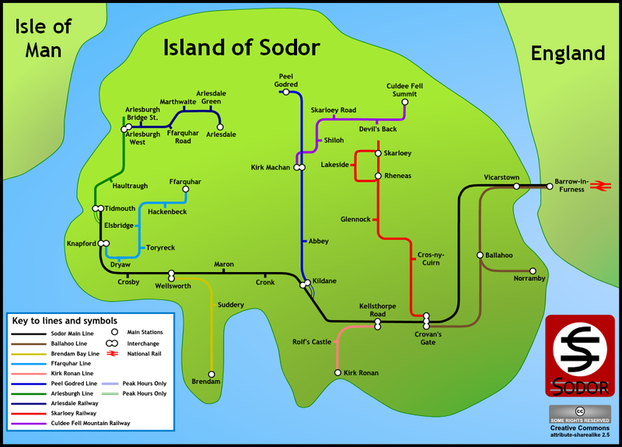 Island of Sodar Map based on Harry Beck's style
