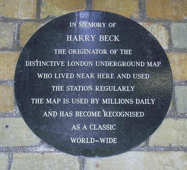 Commemorative Plaque To Harry Beck at Finchley tube Station