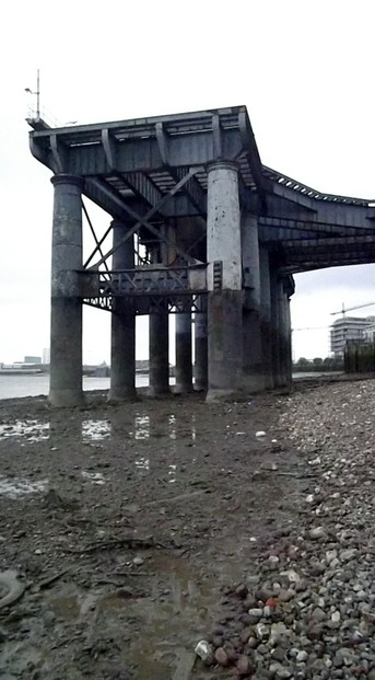 Monumental Industrial Structure on the Thames Foreshore