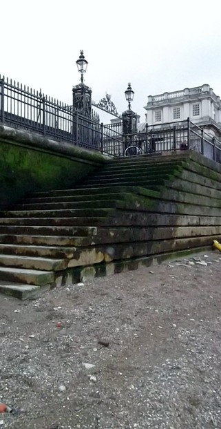 Stairway up to the Thames Path from the Greenwich Foreshore