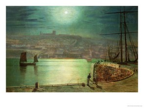 Whitby Harbour by Moonlight - Atkinson Grimshaw