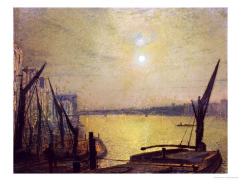 Southwark Bridge From Blackfriars by Night - Atkinson Grimshaw