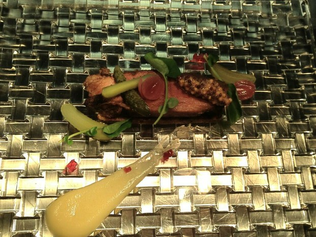 Housemade Beef brisket with grilled rye bread, apple mustard and pickles