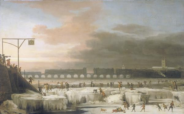 Frozen Thames with Old London Bridge in background - 1677