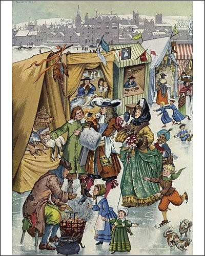 Print of Frost Fair on the Thames by Pauline Baynes
