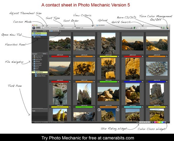 Photo Mechanic 5 Contact Sheet Screenshot