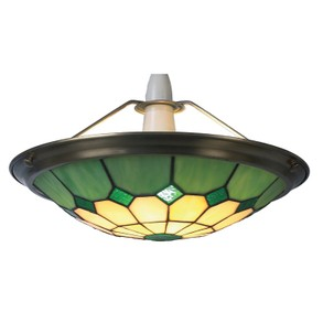 Large Green Bistro Tiffany Uplighter Pendant Ceiling Light Shade