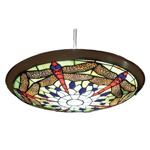 Green Dragonfly Tiffany Style Uplighter Pendant Ceiling Shade
