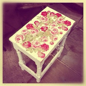 Painted vintage side table for the bedroom