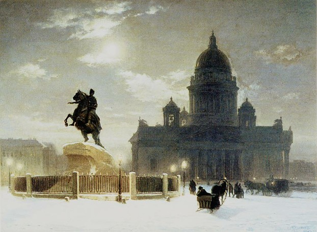 Statue of Peter the Great in St Petersburg (also known as The Bronze Horseman)  - Surikov