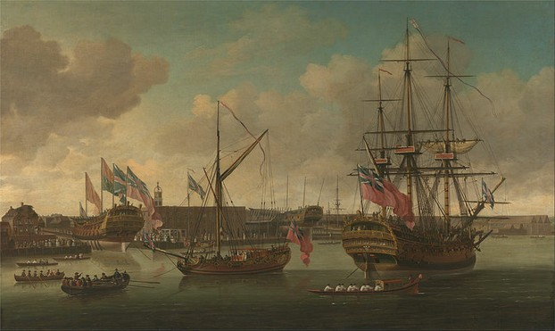 Launching a Ship at Deptford - John Cleveley
