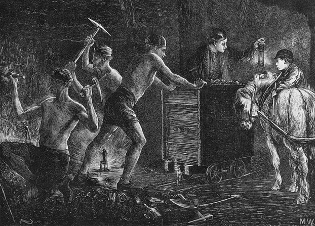 Coal mining. Illustration from The Graphic 1871