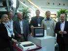 Cutting the official BBC Micro cake