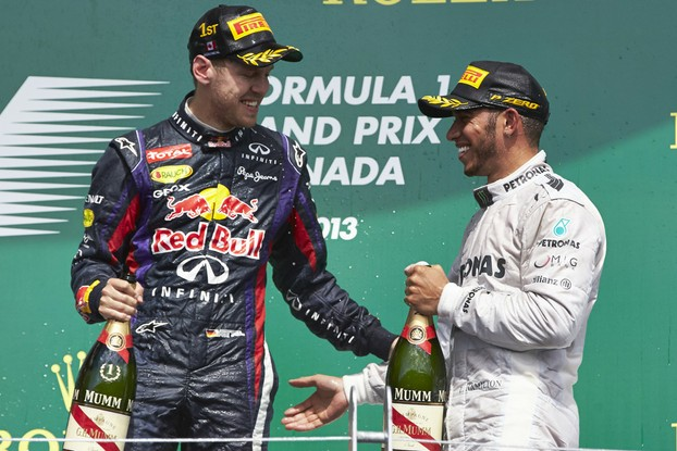 Sebastian Vettel and Lewis Hamilton celebrate in Canada