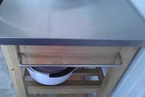 Rolling Kitchen Island with Stainless Steel Top