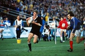 John Kirwan runs in for his try in the 1987 World CUp Final
