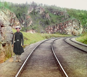 Bashkir switchman on the Trans-Siberian, European Russia