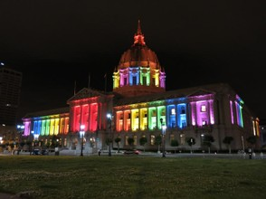 City Hall lit up with pride colors in celebration of Pride 2013