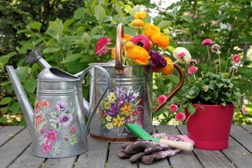 Paint Your Watering Cans and Proudly Display Them