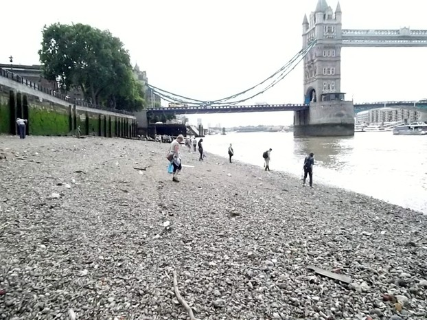 The Foreshore below the Tower of London, with Tower Bridge