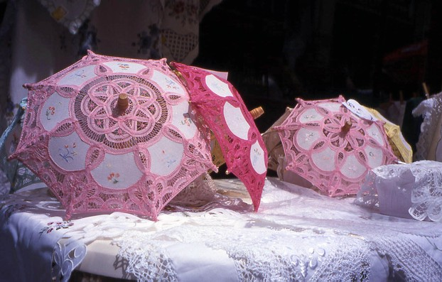 Lace Umbrellas for Sale in Cypriot Village
