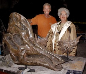 RCI artist John Davies shows a duck-billed dinosaur skull to Joan Cassidy of Trenton. The small dino is a Dracorex.