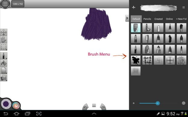 Brushes Menu