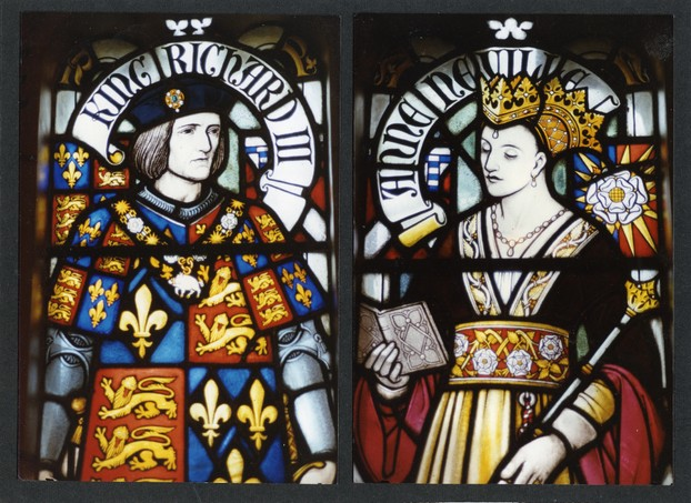 Image: Richard III and Queen Anne Neville, stained glass at Cardiff Castle