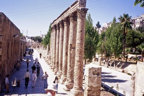 Roman Pillars in Collonaded Street, downtown Amman