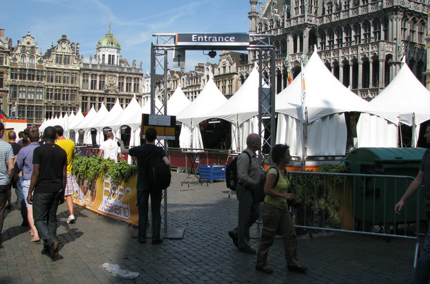 Nearly opening time: the beer stalls in Grand Place