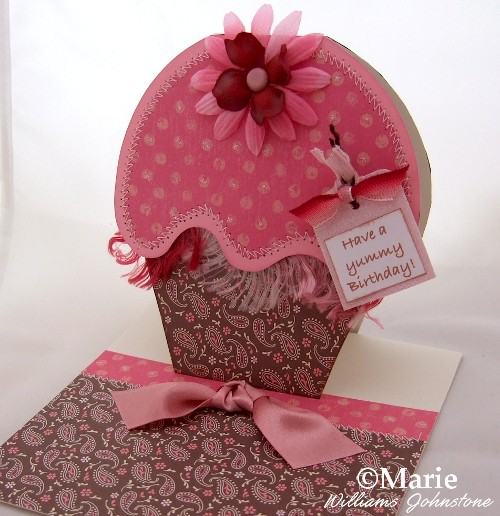 Handmade Brown and Pink Cupcake Card and Matching Envelope