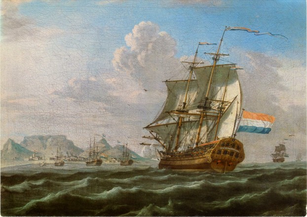"anonymous 1762 oil on canvas, ""Noord Nieuwland in Table Bay"""