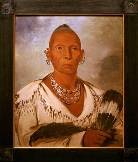 """Múk-a-tah-mish-o-káh-kaik, Black Hawk, Prominent Sac Chief,"" 1832 oil on canvas by George Catlin (1796-1872)"