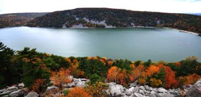 Devil's Lake and its soaring bluffs