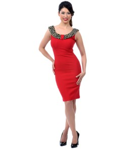 Red Wiggle Dress with Leopard Print Trim