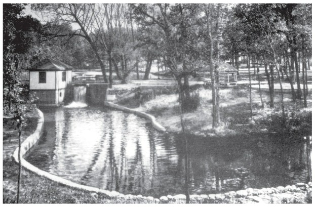 Water-driven turbine built at east side of dam by L.D. Nichols in 1900s to electrify the site (photo c. 1910).