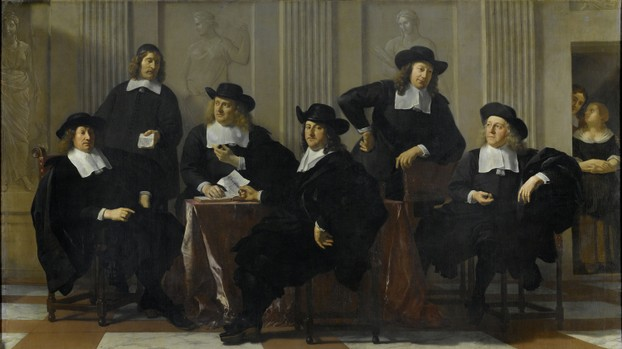 """The Regents of the Spinhuis and the Nieuwe Werkhuis in Amsterdam"", 1669 oil on canvas~Amsterdam Museum"