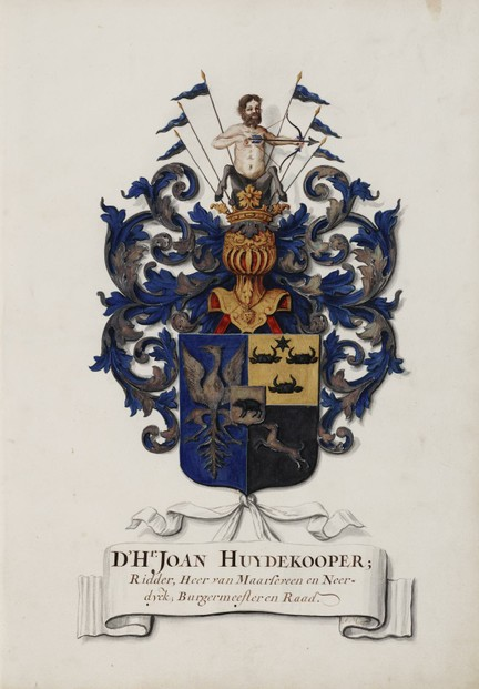 Huydekooper family heraldic arms, drawn by Jan Moninckx in honor of Joan Huydekooper, co-commissioner of Jan's artistry