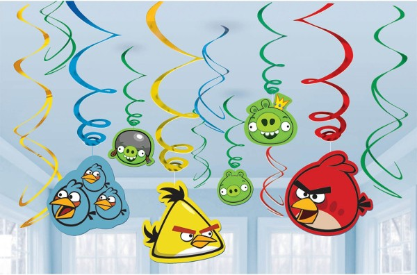 Angry Birds Hanging Swirl Decorations