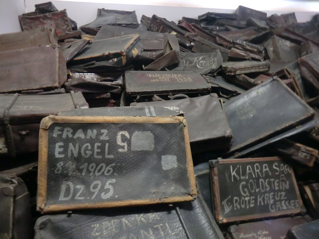 Image: Suitcases, marked by their owners, collected at Auschwitz.