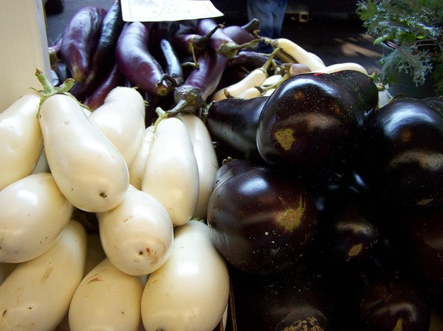 three colors of eggplant: white (left), red purple (top), purple black (right)