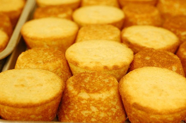 "golden glow of ""plain"" corn muffins"