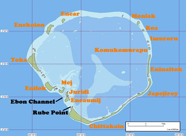 Sidney Gulick's birthplace:  map of Ebon Atoll with place names of 14 of Ebon's 22 islands