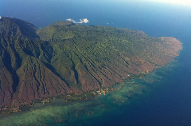 Aerial view of Moloka'i's east side